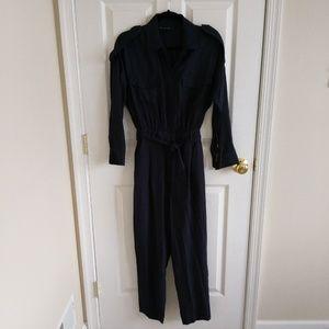 New ZARA Jumpsuit  Navy Blue Small Pockets Womens